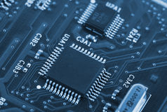 Electronic circuit board with processor Stock Image