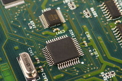 Electronic circuit board with processor Royalty Free Stock Photo