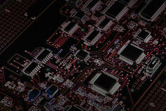 Electronic circuit board with processor Royalty Free Stock Photos