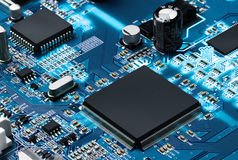 Electronic circuit board with processor Stock Photos