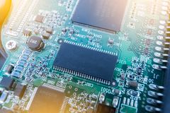 Electronic circuit board with processor, close up. stock images