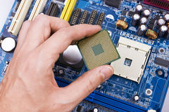 Electronic circuit board, processor installation Stock Photo