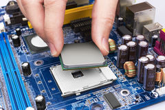Electronic circuit board, processor installation Stock Photos