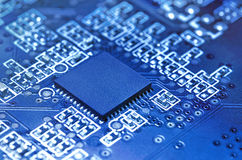 Electronic circuit board with processor. Royalty Free Stock Photography