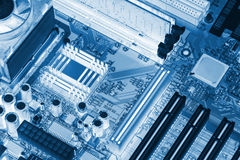 Electronic circuit board with processor X-ray Stock Photo