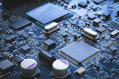 Electronic circuit board semiconductor and motherboard hardware. Digital concept industry technology background computer server cpu royalty free stock image