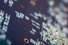 Electronic circuit board. Shallow DOF Stock Photo