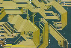 Electronic circuit board tech green background stock image