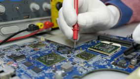 Electronic circuit board testing and repair stock footage