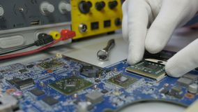 Electronic circuit board testing and repair stock video footage