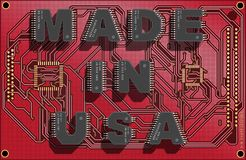 Electronic concept. Electronic circuit board with text `Made in USA`. 3d illustration royalty free illustration