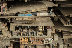 Electronic circuit board. Waste garbage as background from recycle industry Stock Photos
