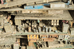 Electronic circuit board. Waste garbage as background from recycle industry Royalty Free Stock Photography