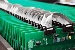 Electronic circuit boards assembly Royalty Free Stock Image