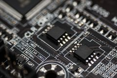 Electronic circuit boards black. Electronic circuit boards black and silver Royalty Free Stock Image