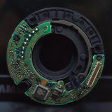 Electronic   circuit boards control the camera lens. Royalty Free Stock Photo