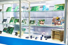 Electronic circuit boards in store. Preform for electronic circuit boards in the storefront royalty free stock photos