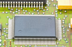 Electronic circuit chip on board Royalty Free Stock Photography