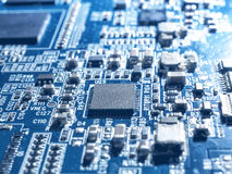 Electronic circuit chip board mother board computer CPU close up. Royalty Free Stock Photography