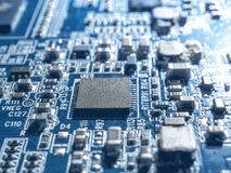 Electronic circuit chip board mother board computer CPU close up. Stock Photo