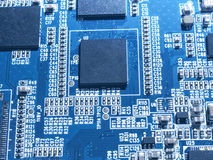 Electronic circuit chip board mother board computer CPU close up. Royalty Free Stock Photos