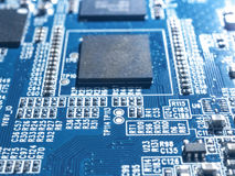 Electronic circuit chip board mother board computer CPU close up. Stock Photos