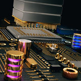 Electronic circuit chip on PC board Royalty Free Stock Image