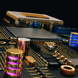 Electronic circuit chip on PC board Royalty Free Stock Photography