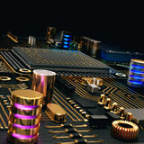 Electronic circuit chip on PC board Stock Image