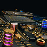 Electronic circuit chip on PC board Royalty Free Stock Photos