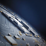 Electronic circuit chip on PC board Royalty Free Stock Photo