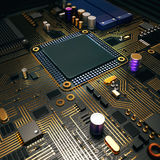 Electronic circuit chip on PC board Stock Photography