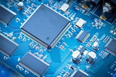 Electronic circuit chip on pcb board. Electronic board Stock Image