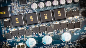 Electronic circuit close-up, Computer motherboard Stock Photos