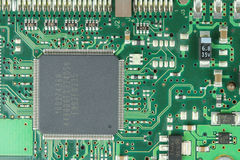 Electronic circuit. Closeup of electronic circuit board with processor Stock Images
