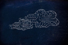 Electronic circuit clouds, concept of remote storage Stock Photos