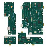 Electronic circuit. Computer mother board with diodes and other components. Computer computer and circuit mother board, vector illustration Vector Illustration