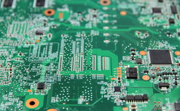 Electronic circuit of a computer. Motherboard - microprocessor Stock Image