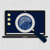 Electronic circuit enlarged on laptop vector illustration