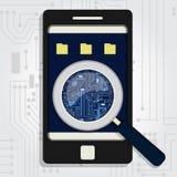 Electronic circuit enlarged on phone royalty free illustration