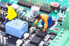 Electronic circuit with figure. Royalty Free Stock Images