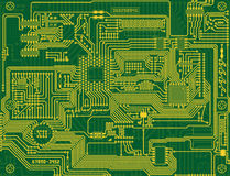 Electronic circuit green background Royalty Free Stock Images