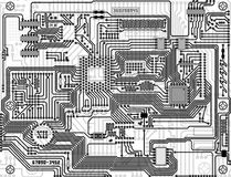 Electronic circuit monochrome background Royalty Free Stock Photography