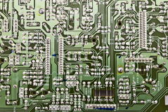 Electronic circuit plate. With microchip Royalty Free Stock Photography