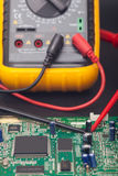 Electronic circuit and polimeter Stock Photos