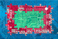 Electronic circuit puzzle background Royalty Free Stock Images