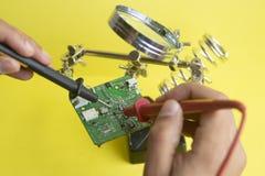 Electronic circuit repair royalty free stock image