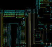 Electronic circuit schematic. It is a electronic circuit schematic. with black background Royalty Free Stock Photography