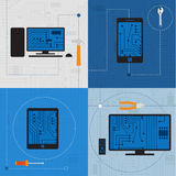 Electronic circuit of technological devices Stock Images