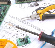 Electronic circuit and tools Stock Images